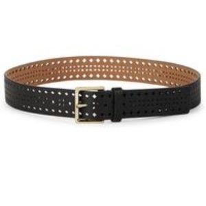 Kate Spade Black Shrunken perforated Leather Belt